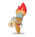 with money bag paint brush character cartoon vector image