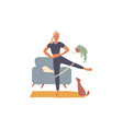 woman trains at home doing leg exercises vector image vector image