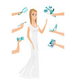 young caucasian bride in white dress vector image vector image