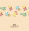 hello summer card pattern of girls on beach vector image