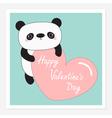 Kawaii panda baby bear Happy Valentines Day vector image
