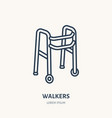 walkers line icon logo for rehabilitation vector image