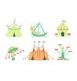 amusement park icons set carnival festival vector image vector image