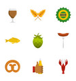 beer snack icons set flat style vector image vector image