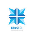 blue crystall flower logo template design vector image