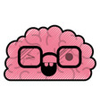 brain character with glasses and eye wink vector image vector image