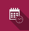 calendar and clock icon isolated with long shadow vector image vector image