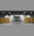 cardboard boxes in warehouse 3d realistic vector image vector image