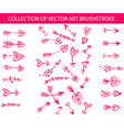 collection of art brushstroke in the shape vector image vector image
