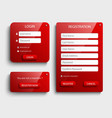 collection red login and register web screen vector image vector image