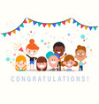 congratulations cute celebration banner with vector image
