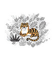 contour print of jungle with orange tiger in vector image vector image