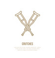 crutches line icon logo for rehabilitation vector image vector image