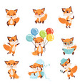 cute red foxes showing various emotions and vector image vector image