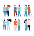 disabled persons with assistants people in vector image
