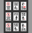 do not litter signs set keep clean icons vector image vector image