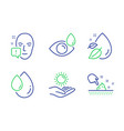 face attention oil drop and eye drops icons set vector image vector image