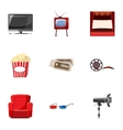 Film icons set cartoon style vector image vector image