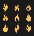 fire flame logo icon set on black vector image vector image