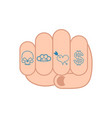 fist with tattoo on fingers skull and brass vector image