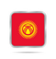 flag of kyrgyzstan metallic gray square button vector image vector image