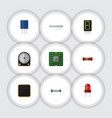 flat icon device set of cpu display resistance vector image vector image