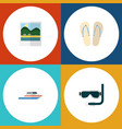 flat icon summer set of boat beach sandals vector image vector image