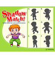 Game template with shadow matching boy vector image vector image