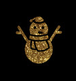 golden glitter christmas snowman with scraf icon vector image vector image