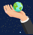 hand holding earth globe in space vector image vector image