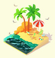 isometric summer beach holidays vector image