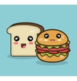 kawaii fast food and bread isolated graphic vector image