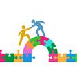 People help join solve bridge puzzle vector image