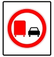 Road sign Prohibitory sign No overtaking by vector image vector image