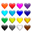 set color hearts icons on white isolated vector image