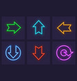 set neon web icons vector image