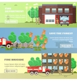 set of banners with fire fighting concept vector image