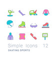 set simple line icons skating sports vector image vector image