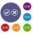 tick and cross selection icons set vector image vector image