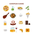 Top view showing European food and delicious vector image vector image