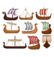 viking scandinavian draccars set norman ship with vector image