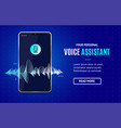 voice assistant concept banner horizontal with vector image