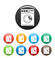 wash machine icons set color vector image vector image