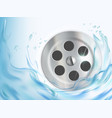 water flows into drain hole in sink vector image vector image