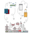welcome to japan poster in linear style vector image vector image