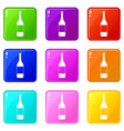 wine bottle icons 9 set vector image vector image