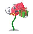 with gift anthurium flower pink in cartoon garden vector image