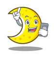 with phone crescent moon character cartoon vector image