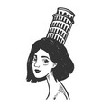 woman with tower of pisa engraving vector image vector image