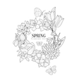 Wrath Of Spring Flowers Hand Drawn Realistic vector image vector image